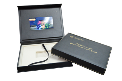 Custom leather box set packaging video panel compartments
